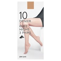 John Lewis 10 denier nude knee high tights pack of 3
