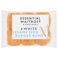 essential Waitrose white sesame seed burger buns