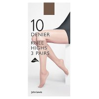 John Lewis 10 denier nearly black knee high tights, pack of 3