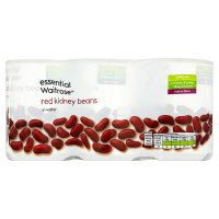 essential Waitrose red kidney beans in water, 3 pack