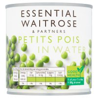 essential Waitrose canned petits pois in water