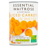 essential Waitrose canned sliced carrots in water