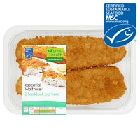 essential Waitrose 2 haddock portions in breadcrumbs