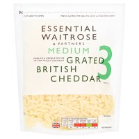 essential Waitrose English medium grated Cheddar cheese, strength 3