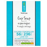 Waitrose Love life you count asparagus soup in a cup, 4 servings