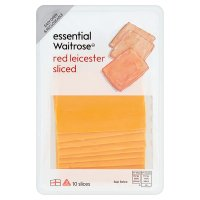 Waitrose red Leicester cheese, strength 3, 10 slices