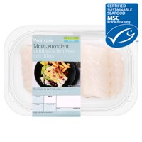 Waitrose MSC 2 line caught skinless & boneless icelandic cod fillets