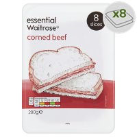 essential Waitrose corned beef, 8 slices