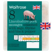 Waitrose 8 British Lincolnshire pork sausages