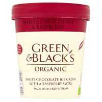 Green & Black's organic white chocolate & raspberry swirl