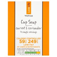 Waitrose LoveLife Calorie Controlled carrot & corriander soup in a cup