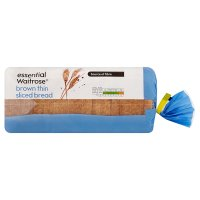 essential Waitrose thin sliced brown bread