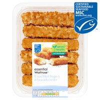 essential Waitrose MSC 6 line caught chunky cod fillet fingers in breadcrumbs