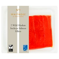 Waitrose 2 boneless wild Alaskan Sockeye salmon fillets