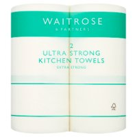 Waitrose ultra kitchen towels, white - pack of 2