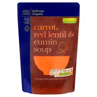 Waitrose Organic carrot, red lentil & cumin soup