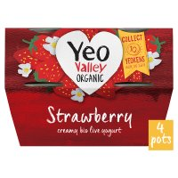 Yeo Valley 4 organic strawberry yogurts
