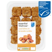 essential Waitrose MSC line caught cod bites in breadcrumbs