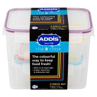 Addis Clip & Close 5 piece food container set
