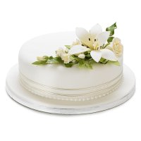 Ivory Lily & Rose Sugar Flower Wedding Cake - Fruit - Medium