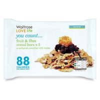 Waitrose LOVE Life you count  Fruit & Fibre Cereal Bars x 5