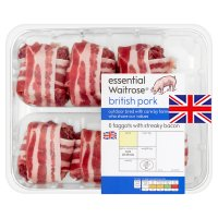 essential Waitrose 6 British pork faggots with streaky bacon