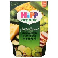 Hipp organic gently steamed cheesy leek & chicken macaroni - stage 3