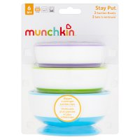 Munchkin stay-put suction bowls, pack of 3, assorted