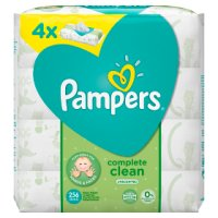 Pampers Complete Clean Baby Wipes Unscented 4 Packs (256)