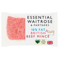 essential Waitrose British mince beef| percentage fat content under 10%