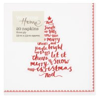 Waitrose Home Red & White Tree Words Napkins