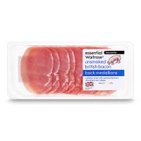 essential Waitrose 12 British Outdoor Bred unsmoked bacon medallions