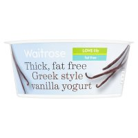 Waitrose thick fat free Greek style vanilla yogurt