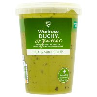 Duchy Originals organic sweet green pea soup with refreshing mint