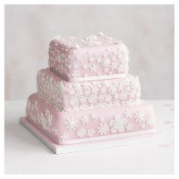 Blossom 3 Tier Pastel Pink Wedding Cake , Lemon sponge (all tiers)