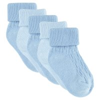 Waitrose blue roll top baby socks 5 pack