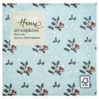 Waitrose Home Robin & Holly Napkins