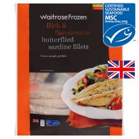 Waitrose MSC frozen cornish sardine fillets