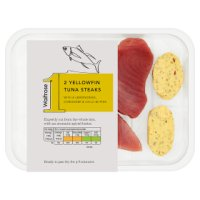 Waitrose yellowfin tuna steaks with lemongrass, coriander & chilli butter