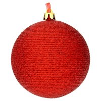 Waitrose Red Ribbed Glitter Bauble