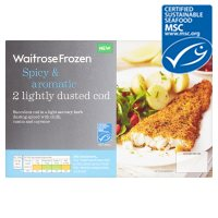Waitrose MSC frozen spicy & aromatic lightly dusted cod x 2
