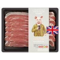 Heston from Waitrose British syrup and stout streaky bacon, 6 rashers