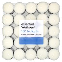 essential Waitrose tealights, pack of 100