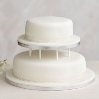 Soft Iced 2 Tier White Wedding Cake with Dowling , Fruit (all tiers)