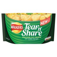 Walkers Tear'n'Share Thicker Cut Crisps Salt & Malt Vinegar