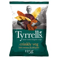 Tyrrell's crinkly veg crisps rosemary & garlic