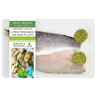 Waitrose sea bass fillets with rocket & pesto butter