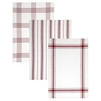 essential Waitrose red tea towel, set of 3