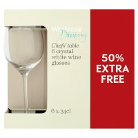 Waitrose Dining chefs table 6 pack crystal white wine glasses - 50% Free