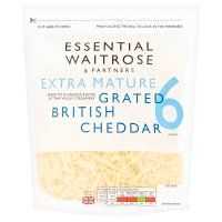 essential Waitrose English extra mature grated Cheddar cheese, strength 6